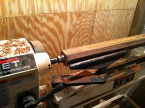Next I headed to the nearly unused lathe to start to rough my stock