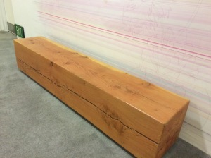 """Here is a bench made from a beam in the hallway of a hotel.  the rest of the decor was cement walls and very industrial, so this fit, but certainly goes into the category of """"I can do that""""."""