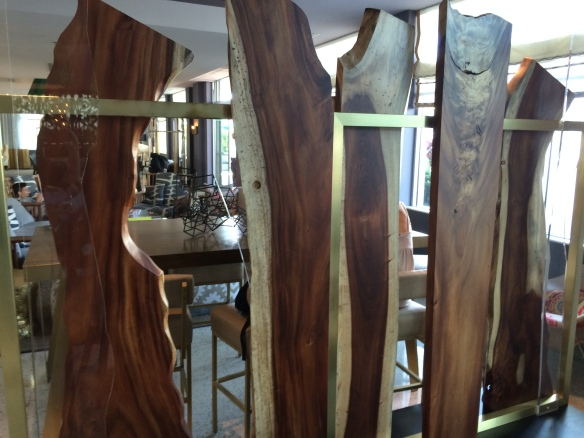 These slabs were standing in the lobby as art work.  I am a huge fan of live edge slabs, but felt like I was walking through the lumber yard.  Felt really out of place in South Beach.