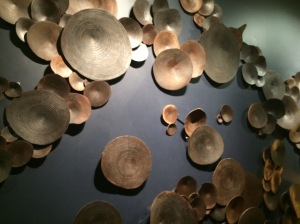 This is a beautiful wall of wood 'plates' in the bar of the hotel